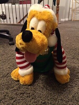 "Disney Pluto Santa's Helper 14"" Plush"