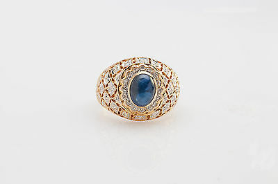 Vintage $5000 3ct Natural Blue Sapphire Diamond 14k Gold DOME Band Ring