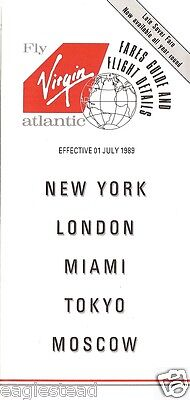 Airline Timetable - Virgin Atlantic - 01/07/89