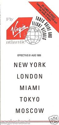 Airline Timetable - Virgin Atlantic - 01/08/89