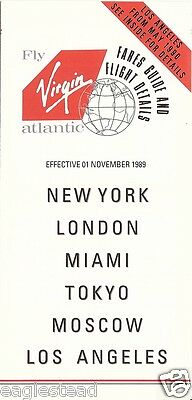 Airline Timetable - Virgin Atlantic - 01/11/89