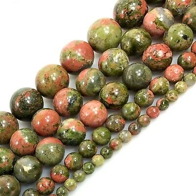 """Natural Color Unakite Round Spacer Loose Bead 15"""" 4mm 6mm 8mm 10mm 12 Wholesale"""