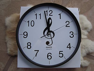 """G Clef Music Wall Clock 10"""" D Black & White Easy to Read Great MUSIC Gift NIB"""