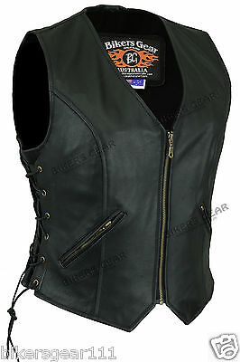 NEW Classic Womens Motorcycle fully lined Zip Front genuine Leather Vest size 12