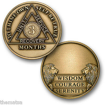 Aa Alcoholics Anonymous 3 Month Recovery Sobriety Engravable Challenge Coin