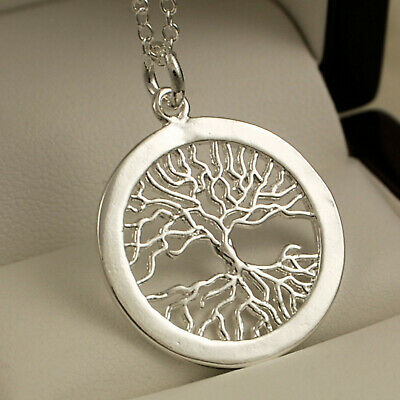 "925 Stamped Sterling Silver Pltd Tree of Life Pendant - 18"" Necklace Chain -83"