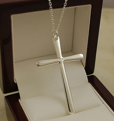 "Gorgeous 925 Stamped Sterling Silver Plt Cross Pendant 18"" Necklace Chain -84"