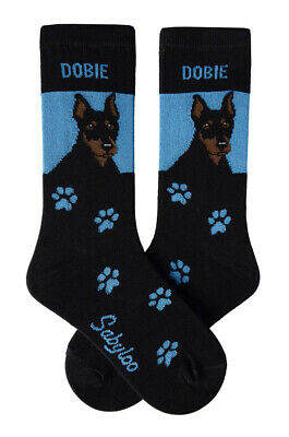 Doberman Pinscher Socks Lightweight Cotton Crew Stretch Egyptian Made
