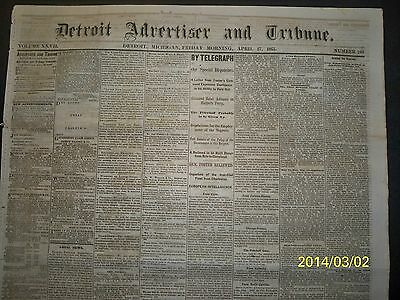 Newspaper - Detroit Adv - A  Union  Officer  Executed   - 1863