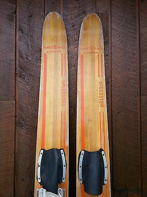 """VINTAGE Wooden 63"""" Waterskis  GREAT Signed MASTERCRAFT AQUA RIGHT"""