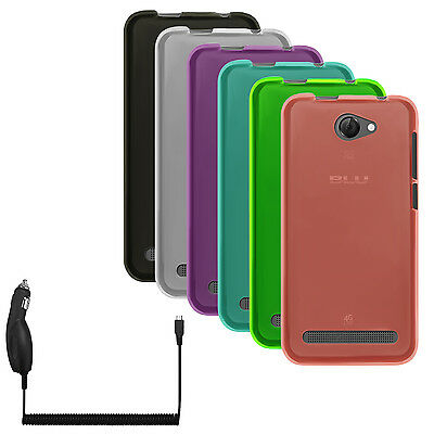 Matte TPU Flex-Gel Silicone Case Cover+Car Charger for BLU Studio Mini LTE