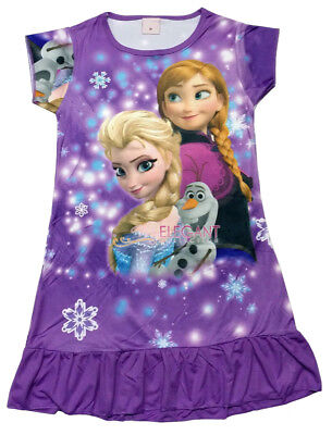Disney Frozen Elsa & Anna Olaf Children Dress Girls Pajama Nightwear 3-10 Purple