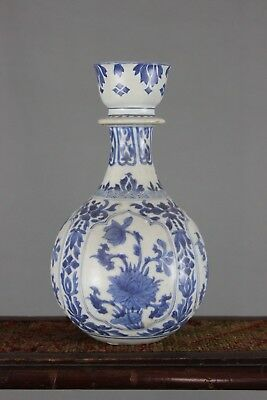 17th 18th Century Chinese Blue and White Porcelain Bottle Vase