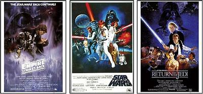 STAR WARS POSTERS COLLECTOR SET of 3 CLASSIC POSTERS Size each 24x36