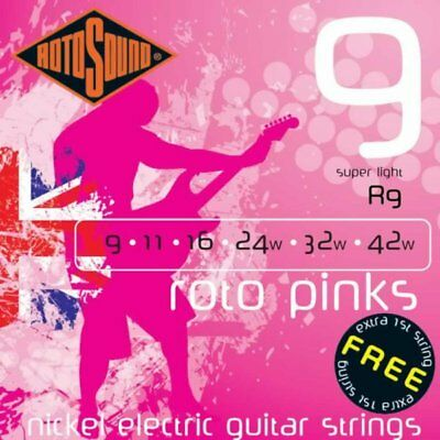 Rotosound R9 Roto Pinks Nickel Electric Guitar Strings Super Light 9-42