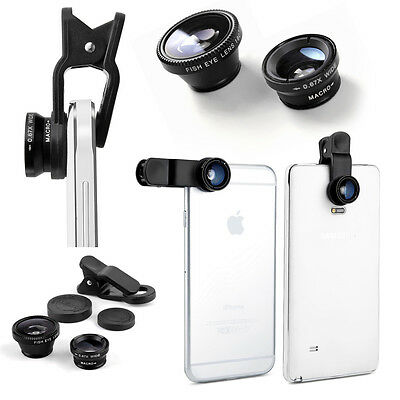 Clip On Camera Lens Kit Wide Angle Fish Eye Macro For Samsung Galaxy Note 4 3 2