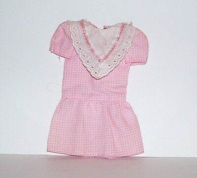 VINTAGE Barbie-SKIPPER DOLL PINK CHECKERED DRESS FAIR CONDITION PREOWNED TAGGED