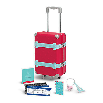 """American Girl LE GRACES TRAVEL SET for 18"""" Dolls Passport Suitcase NEW"""