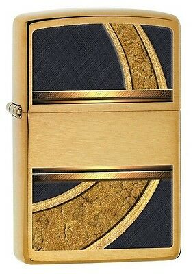 Zippo 28673 gold and black design brushed brass full size Lighter