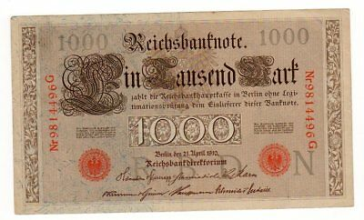 Allemagne GERMANY BILLET 1000 MARK 1910 ROUGE BON ETAT