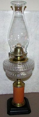 Antique Oil Lamp Composite EAPG Glass Font Pottery w/ Metal Base Burner Chimney