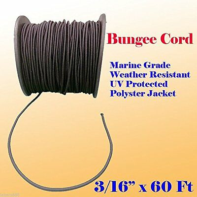 "3/16"" x 60 Ft Premium Marine Grade Bungee Shock Stretch Cord UV Black 60'"