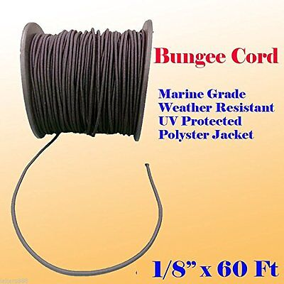 "1/8"" x 60 Ft (20 Yards)  Premium Marine Grade Bungee Shock Stretch Cord UV Black"