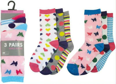Girls Pattened Socks RJM 3 Pairs Available In 2 Designs SK334