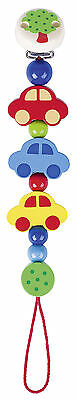 Heimess CARS CLIP ON DUMMY/SOOTHER/PACIFIER CHAIN Wooden Baby/Child Toy BN