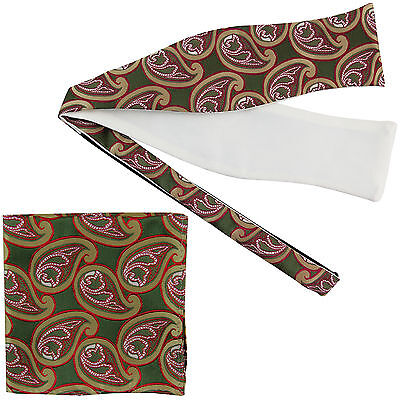 Men's Paisley Self-tied Bow tie and Pocket Square Hankie green olive red