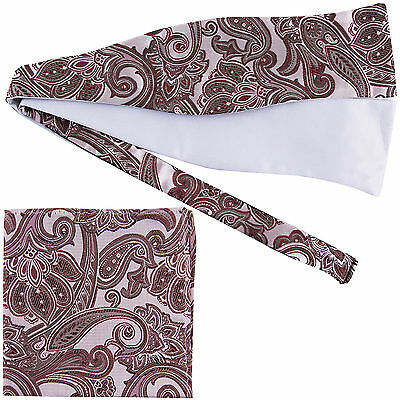 Men's Paisley Self-tied Bow tie and Pocket Square Hankie burgundy olive green