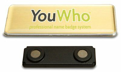 YouWho Professional Name Badge Refill Gold Color Inkjet 2 badges You Who