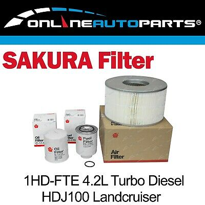 Sakura Air Oil Fuel Filter Service Kit Landcruiser HDJ100 Turbo Diesel Engine