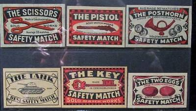 Wooden Matchbox Labels vintage group of 6 Different Solo & Best Czechoslovakia