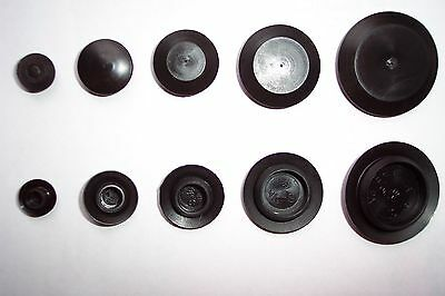 "100 pcs 1"" Black Poly Flush Top Hole Plugs AUTO BODY PLASTIC PLUG FLUSH MOUNT"
