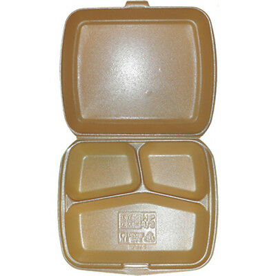 50 x  HP4/3 - General Purpose Foam/ Polystyrene Gold Food Box  3 Compartments