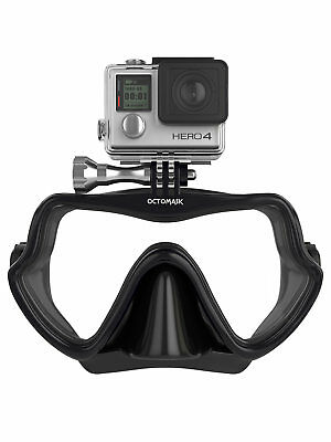 Octomask Frameless: Scuba & Snorkeling Mask with GoPro Mount  Black/black