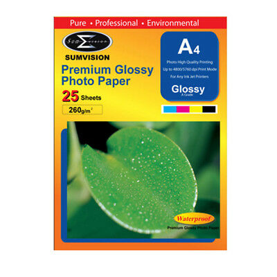 25 Sheets NEW Sumvision A4 260gsm Premium Quality Glossy Inkjet Photo Paper