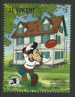 ST VINCENT 1989 DISNEY World Stamp Expo RUGBY Value MNH