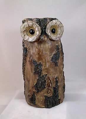 """Woodland OWL vase 13.75"""" looks like carved wood but made of resin NEW"""