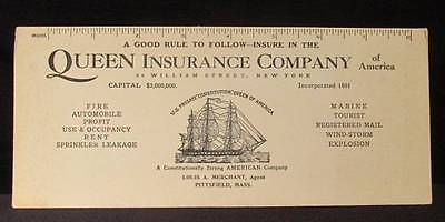 Queen Insurance Co of America Pittsfield Vintage Ink Blotter USS Constitution