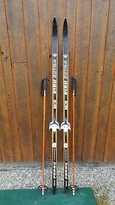 "VINTAGE HICKORY Wooden 72"" Skis Has BLACK Finish Signed VISU + Bamboo Poles"
