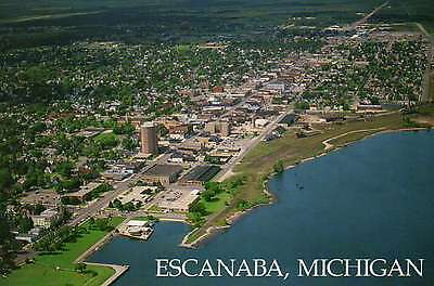 Aerial View of the Downtown Business Section of Escanaba, Michigan --- Postcard