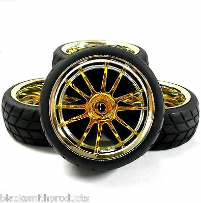 A250047 1/10 On Road Soft V Tread Car RC Wheel and Tyre 12 Spoke Yellow Chrome 4