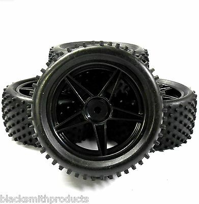 A66010/031 1/10 Off Road Front Rear Buggy RC Wheels Studd Tyres 5 Spoke Black