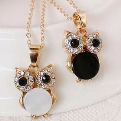 Clear Crystal Owl Design Pendant Gold Plated Black & White Shell Chain Necklace
