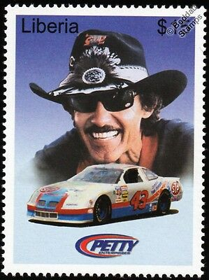 Richard Petty (The King) 1997 PONTIAC NASCAR Car #43 Stamp (2001 Liberia)
