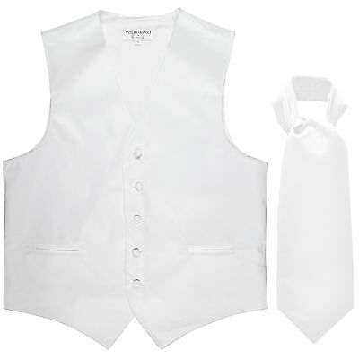 New Men's Formal Tuxedo Vest Waistcoat solid & Ascot cravat white Wedding Prom