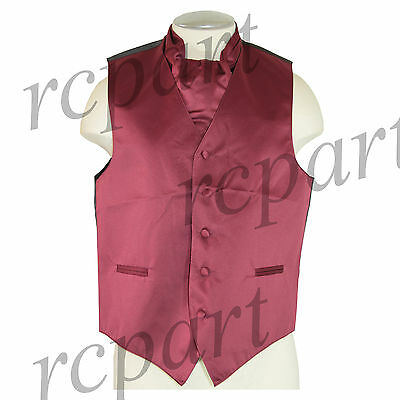 New Men's Formal Tuxedo Vest Waistcoat solid & Ascot cravat burgundy Prom