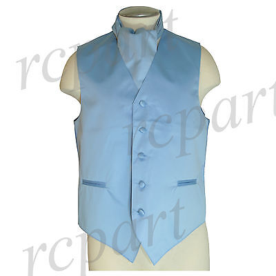 New Men's Formal Tuxedo Vest Waistcoat solid & Ascot cravat Light blue Prom
